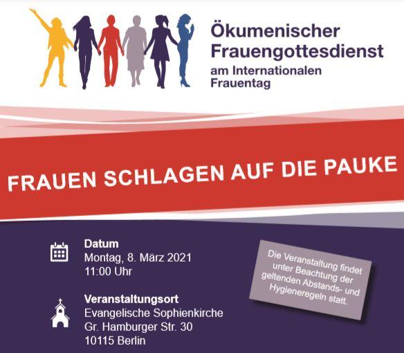 Plakat Ökumenischer Frauengottesdienst 8.3.2021