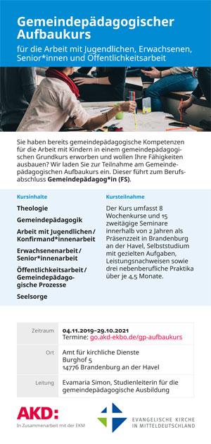 Gemeindepädagogischer Aufbaukurs