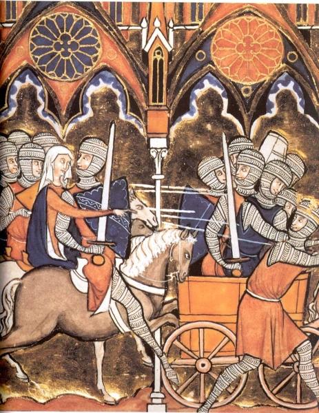 Debora und Barak ziehen in die Schlacht (13. Jh.)