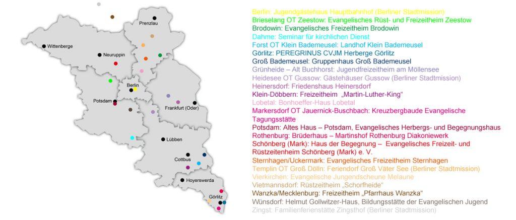 Übersichtskarte der Evangelischen Freizeithäuser