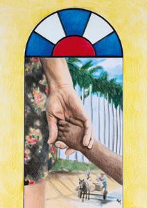 Foto: Titelbild zum Weltgebetstag 2016, Nehmt Kinder auf und ihr nehmt mich auf, Ruth Mariet Trueba Castro/Kuba, © Weltgebetstag der Frauen – Deutsches Komitee e.V.