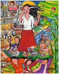 """Foto: Das Titelbild zum Weltgebetstag 2017, """"A Glimpse of the Philippine Situation"""", Rowena """"Apol"""" Laxamana-Sta.Rosa, © Weltgebetstag der Frauen – Deutsches Komitee e.V."""